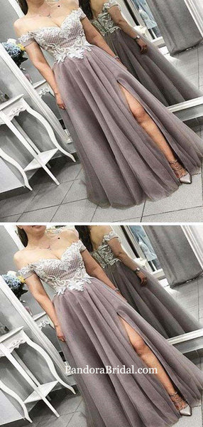 Elegant Lace Off Shoulder Long A-Line Side Slit Tulle Prom Dresses, Prom Dresses, PD0390