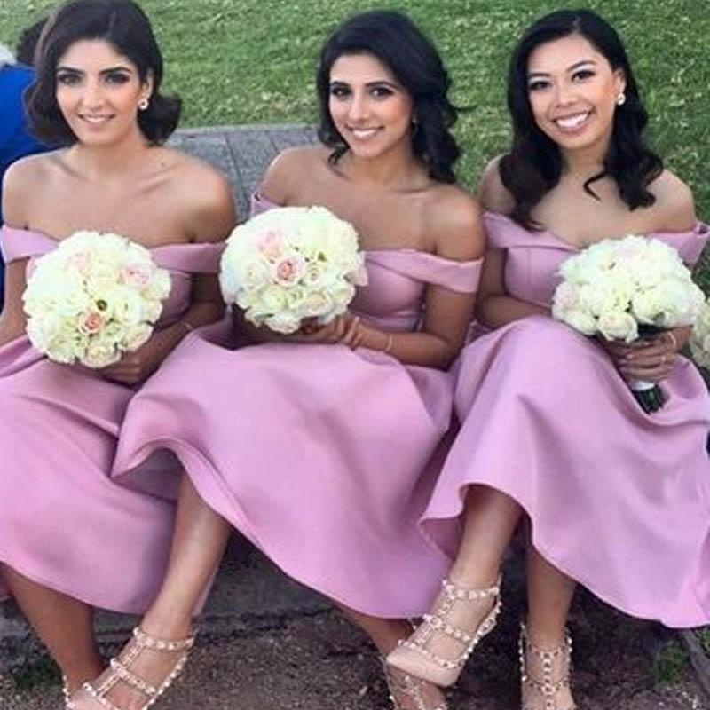 Simple Off Shoulder Long A-Line Bridesmaid Dresses, 2019 Bridesmaid Dresses, VB02266
