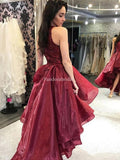 Alluring Burgundy High Low With Beaded Prom Dresses, VB03351