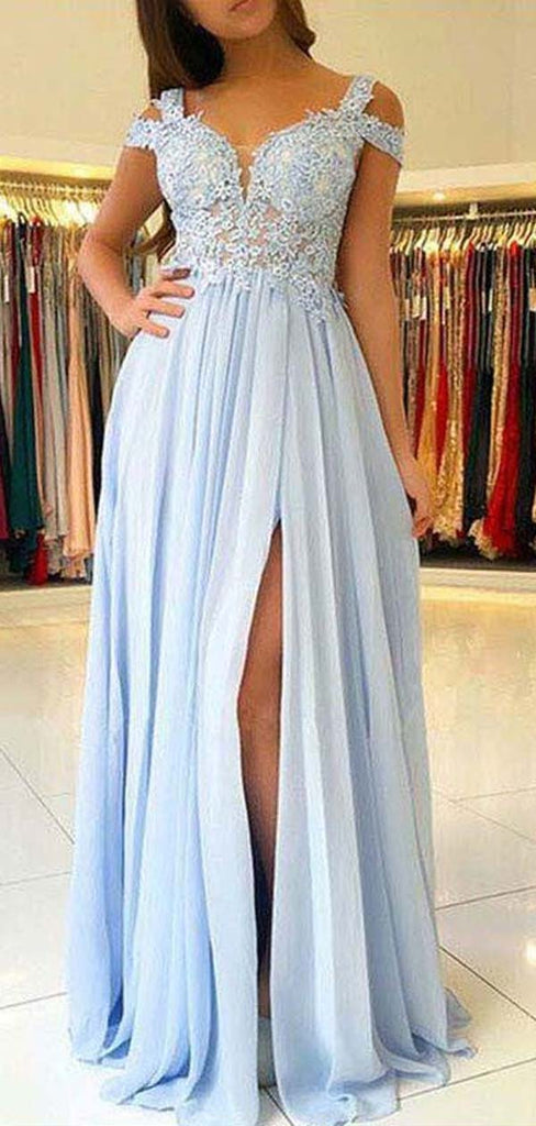 Charming Off Shoulder Lace Top Long Side Slit Chiffon Prom Dresses, Sky Blue Prom Dresses, PD0365
