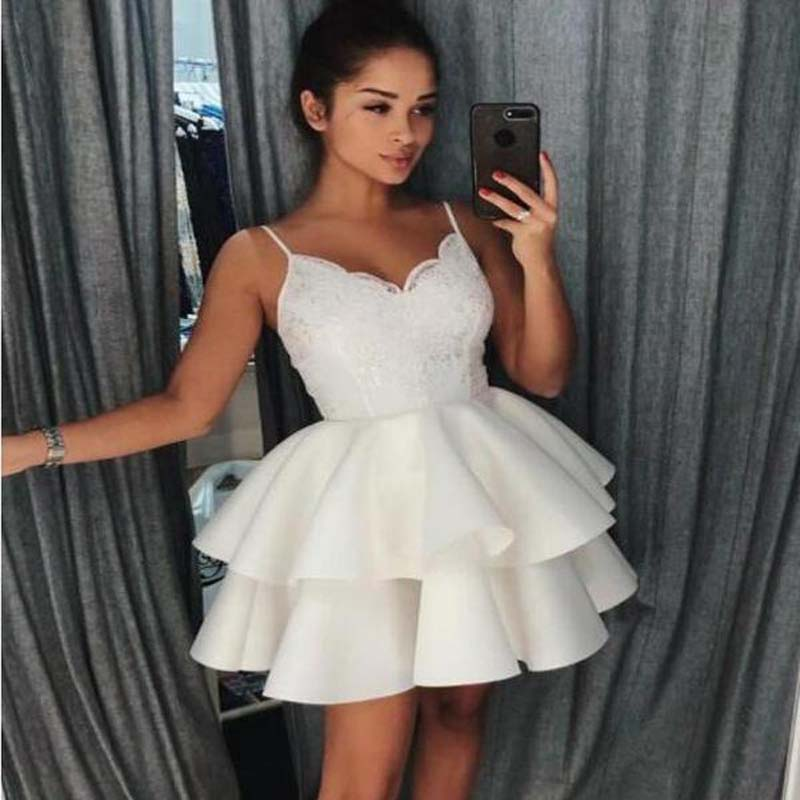 Ivory Spaghetti Straps Lace Cheap Short Homecoming Dresses Online