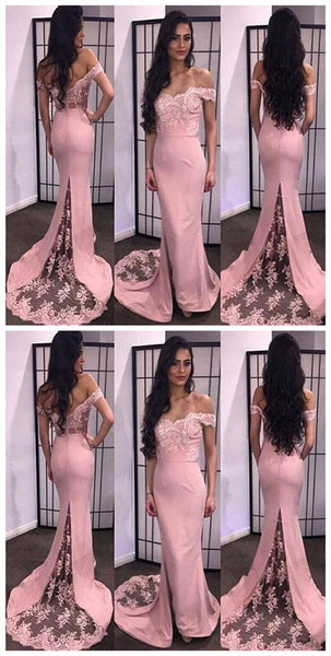 Off Shoulder Lace Soft Satin Prom Dress, With Trailing Prom Dress, Mermaid Prom Dress, Prom Dresses, VB0105