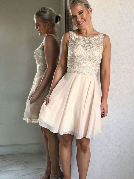 Charming Scoop Neckline Sleeveless A-Line Short Homecoming Dresses, Beading Homecoming Dresses With Lace Appliques, VB01168
