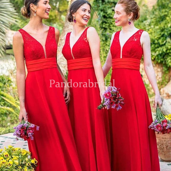 Alluring Red Deep V-Neck Lace Top A-Line Bridesmaid Dresses, PD01701