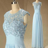 Elegant Blue Scoop Neckline Lace Top Cap Sleeve A-Line Long Prom Dresses, Cheap Prom Dresses, Evening Dresses, PD0253