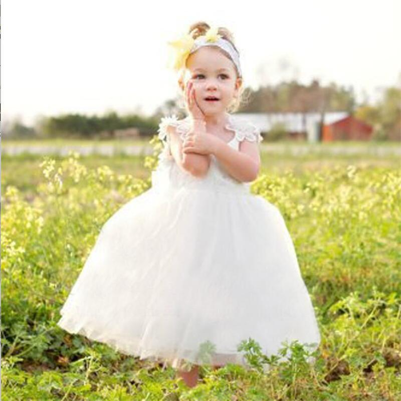 White Lace Top Cap Sleeves A-Line Tulle Flower Girl Dresses With Bow-Knot,Lovely Flower Girl Dresses, VB01238