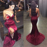 Sexy Burgundy Sweetheart Mermaid Side Slit Prom Dresses, Cheap Popular Satin Prom Dress, PD0160