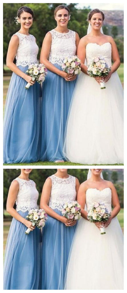 Illusion Lace Blue Tulle Skirt Long Cheap Bridesmaid Dresses Online, WG277