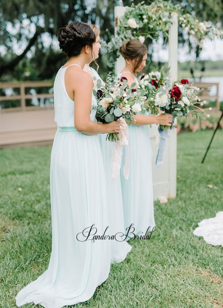 Alluring Mint Green Halter Chiffon Bridesmaid Dresses, PD01766