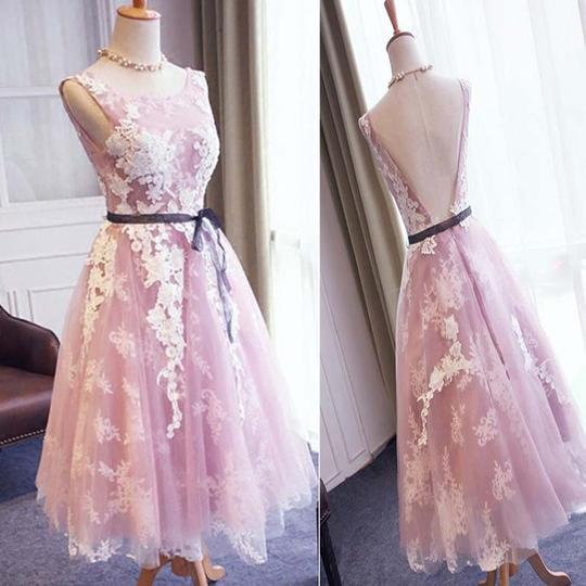 3433c5ffa3f Dusty Pink Scoop Neckline V-Back A-Line Tulle Prom Dresses With Lace  Appliques
