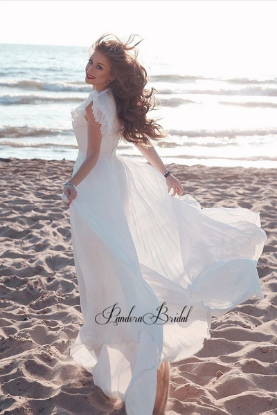 Alluring V-Neck Beach Wedding Dresses, PD01756