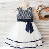 Fashion Lovely Navy Lace Sleeveless Round Neck Flower Girl Dresses With Bow Sash, Flower Girl Dresses, PD0048