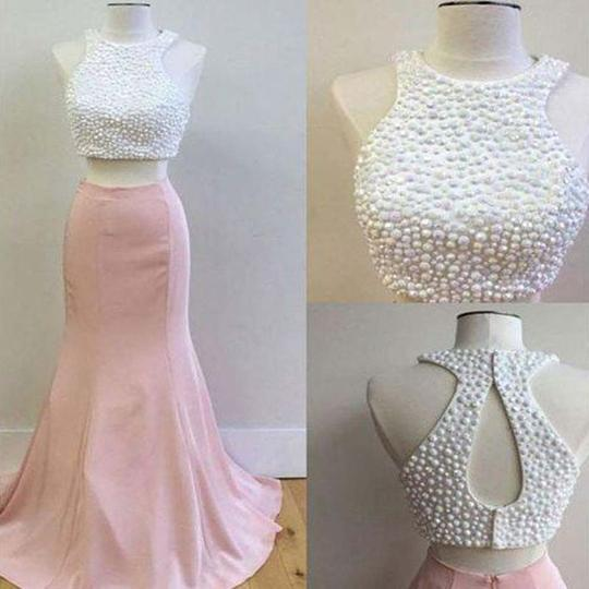 Beautiful Halter Pearl Top Two Pieces Pink Satin Prom Dress, Long Prom Dress, PD0177