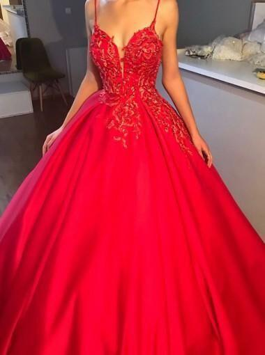 2018 Newest Spaghetti Straps V-Neck V-Back Lace Applique Prom Dress With Trailing, Prom Dresses, PD0173
