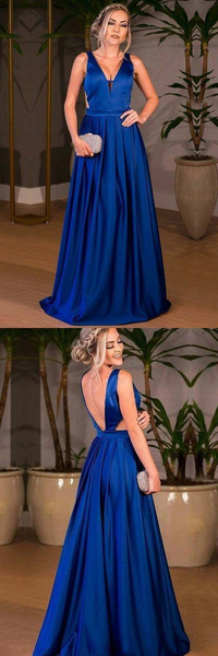 Simple Royal Blue V-Neck V-Back Sleeveless Long A-Line Prom Dresses, Prom Dresses, VB01280