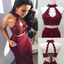 Burgundy Two Piece Halter Mermaid Long Prom Dresses With Appliques, Sexy Prom Dresses, PD0256