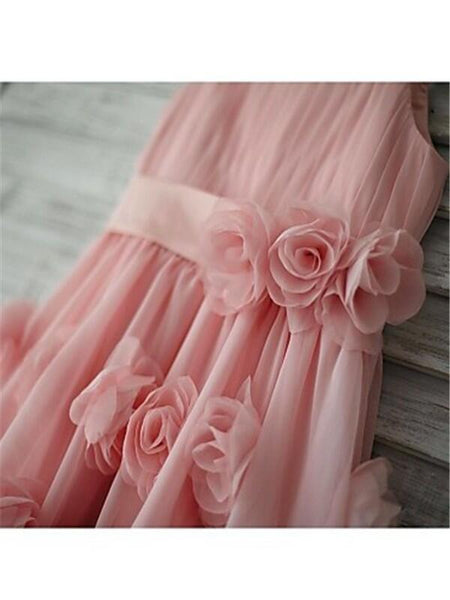 Unique Pink Spaghetti Straps Zipper Up A-Line Chiffon Flower Girl Dresses With Appliques, Cute Flower Girl Dresses With Bow-Knot, Flower Girl Dresses, VB01187