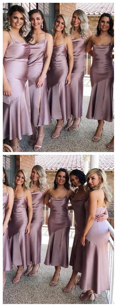 Spahgetti Straps Dusty Purple Tea Length Cheap Custom Bridesmaid Dresses Online, WG270