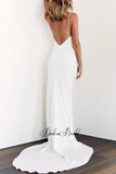 Simple Spaghetti Straps Mermaid Wedding Dresses, PD01759