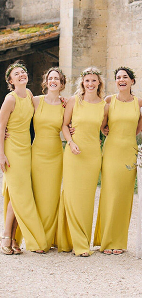 Alluring Yellow Scoop Neckline Long Mermaid Side-Slit Jersey Bridesmaid Dresses, Bridesmaid Dresses, PD0510