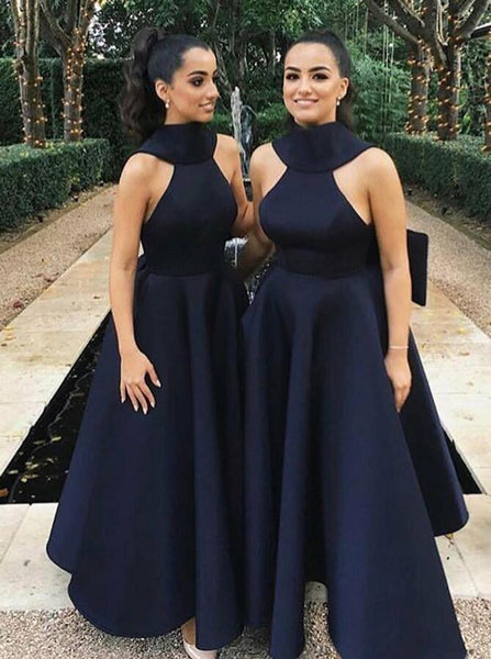High Neck V-Back Long A-Line Bridesmaid Dresses With Bow-Knot, Bridesmaid Dresses, PD0331