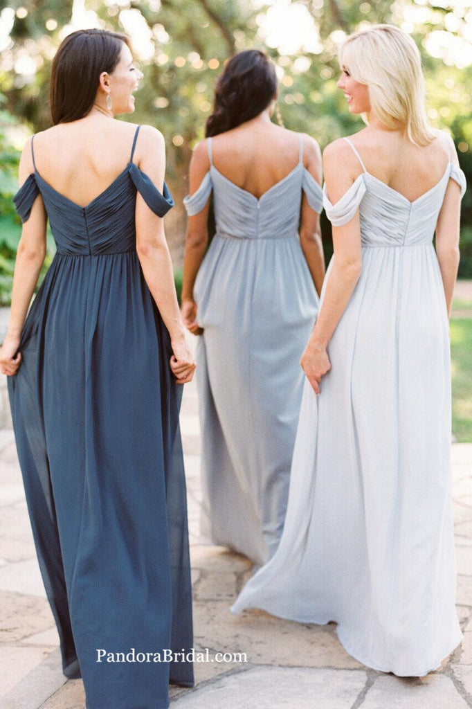 Simple Pleated Off The Shoulder Long A-Line Bridesmaid Dresses, Bridesmaid Dresses, PD0309