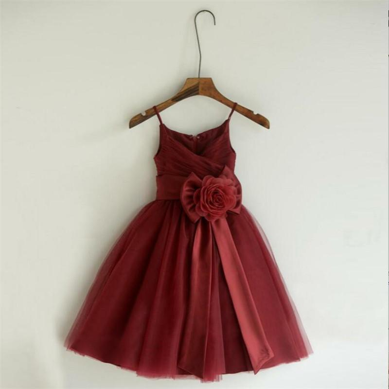 36d4a0f0bd Burgundy Spaghetti Straps Pleated Zipper Up A-Line Tulle Flower Girl Dresses  With Flower Sash