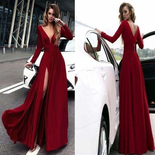 Sexy Rose Red Deep V-Neck Covered Button Side Slit Long Prom Dress, Prom Dress, PD0175