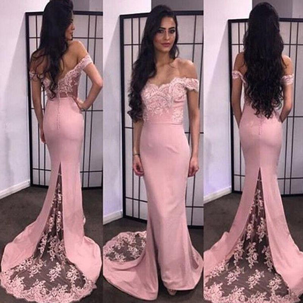 Off Shoulder Lace Soft Satin Prom Dress, With Trailing Prom Dress, Mermaid Prom Dress, Prom Dresses, VB0105 - Visionbridal