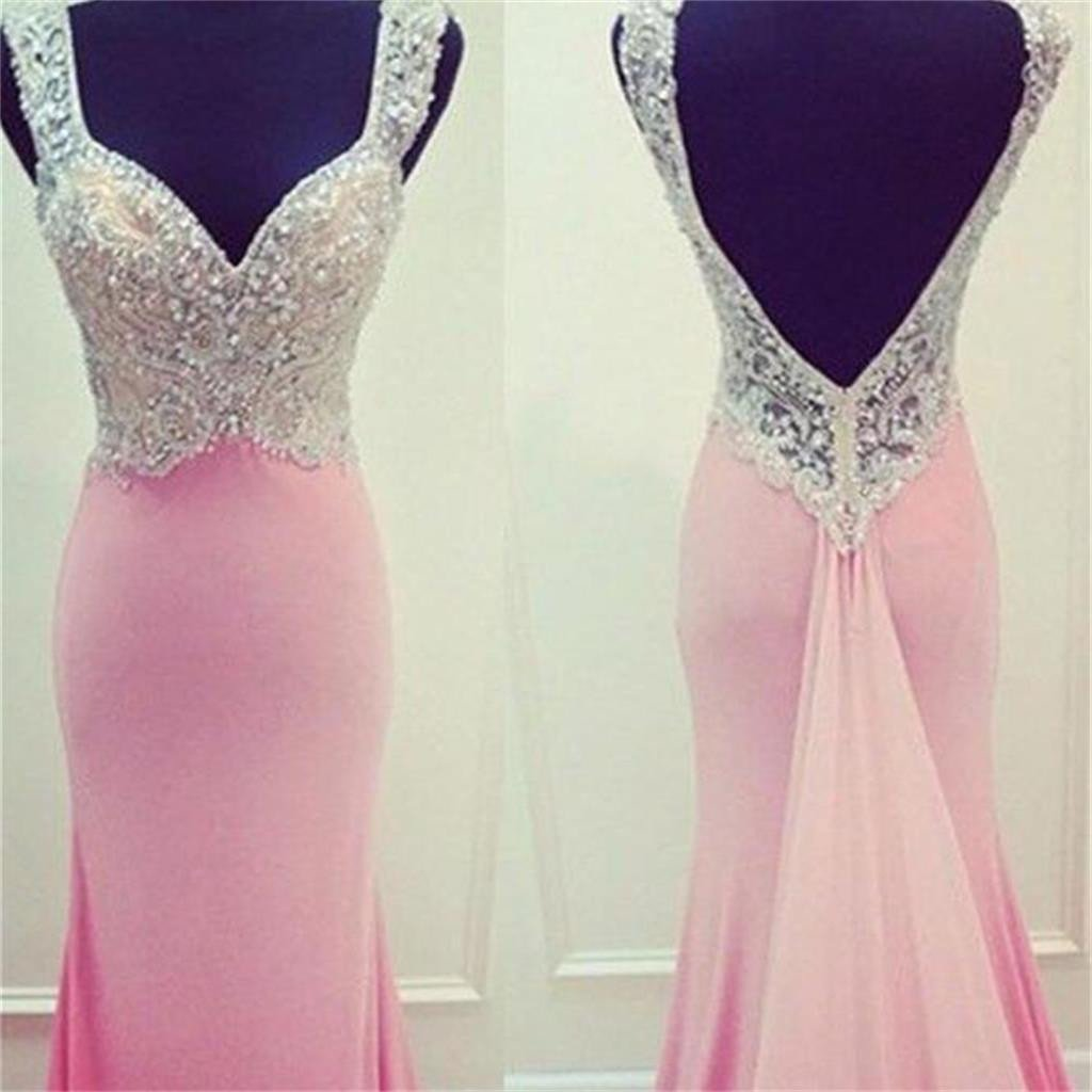 Pink Mermaid Open Back Prom Dresses,Evening Prom Dresses,Custom Prom Dresses, PD0145