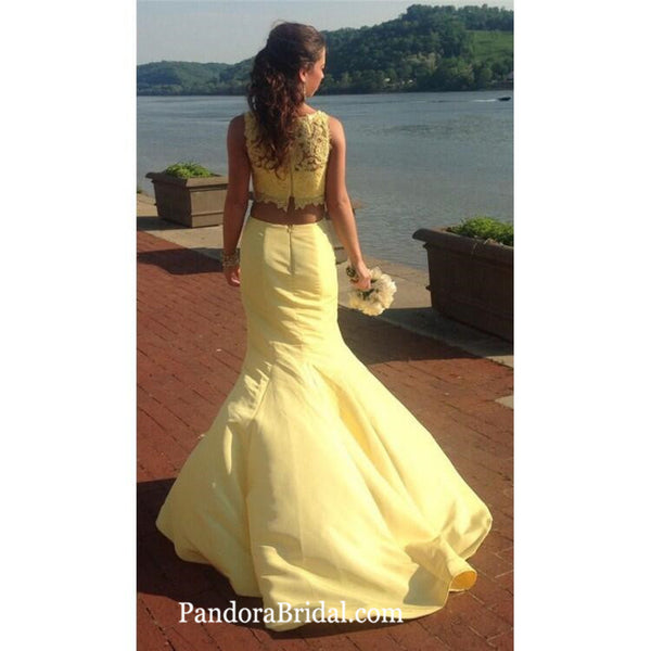 Unique Yellow Illusion Lace Top Two Piece Long Mermaid Prom Dresses With Trailing, Prom Dresses, PD0304