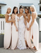 Alluring Spaghetti Straps Side Slit With Sash Bridesmaid Dresses, PD01735