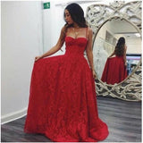 Red Spaghetti Straps Open Back A-Line Long Lace Prom Dresses, Prom Dresses, VB01251