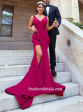 Simple Burgundy V-Neck Long Side Slit Bridesmaid Dresses, Bridesmaid Dresses, PD0332