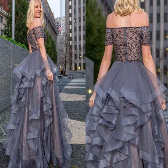 Off The Shoulder With Beaded Zipper Up Asymmetrical Prom Dress, Evening Party Prom Dress, Prom Dresses, PD0171
