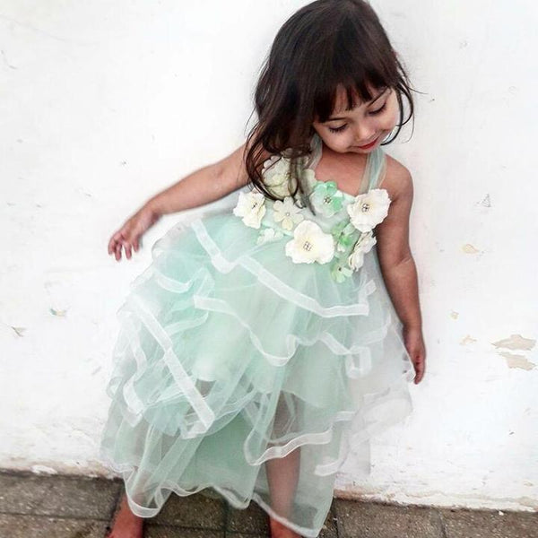 Regular Straps Long Mint Green Long Cheap Cute Flower Girl Dress with Flowers, PD0049