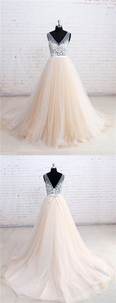 V-Neck See Through A-line Cheap Wedding Dresses Online, Cheap Wedding Dresses, PD0210