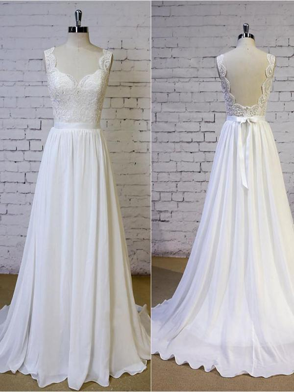 Cheap Backless V Neck Lace Straps Simple Beach Wedding Dresses