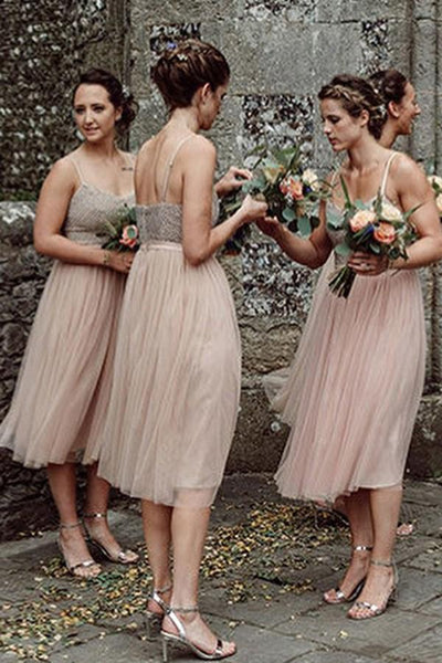 Charming Spaghetti Straps Tea-Length Tulle Bridesmaid Dresses, 2019 Bridesmaid Dresses, PD0483
