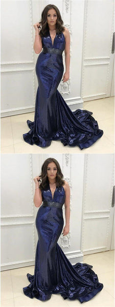 V-neck Sequin Prom Dresses, Navy Prom Dresses, Mermaid Prom Dresses, Prom Dresses, VB01206