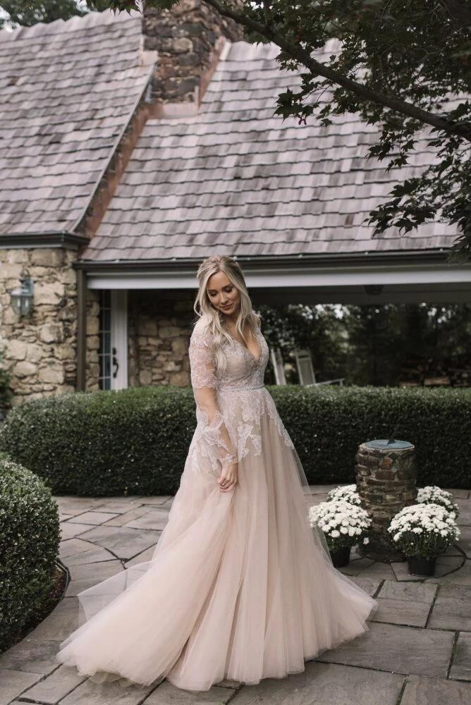 Classy V-Neck Long Sleeve Wedding Dresses With Lace, Wedding Dresses, VB02458