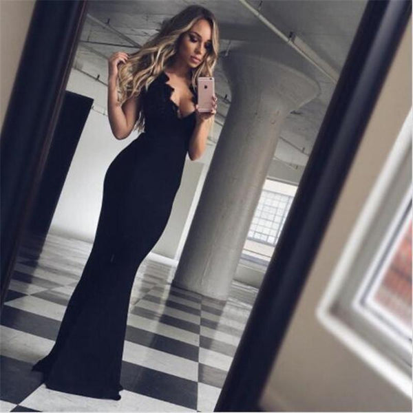Black Spaghetti Straps Crisscross Back Long Mermaid Prom Dresses With Lace, Sexy Affordable Prom Dresses, VB01217