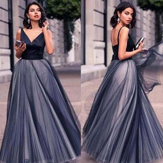 Fashion V-Neck Open Back Top Satin Organza Ball Gown, Charming Prom Dress, PD0170