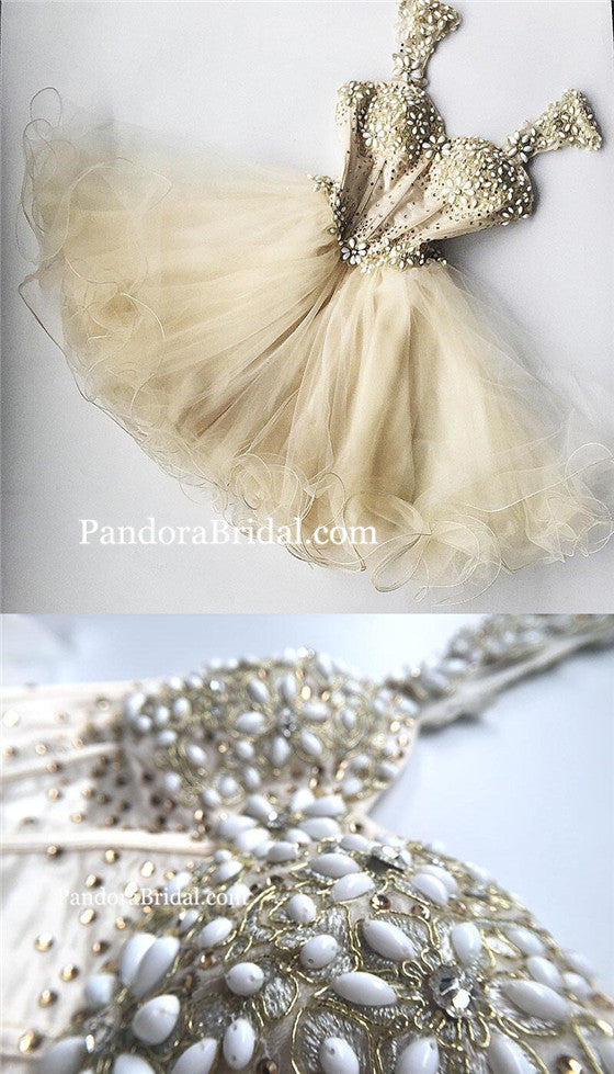 Sweet 16 Dress For Teens With Beaded Tulle Homecoming Dresses, Beautiful Junior Party Homecoming Dresses, PD0248
