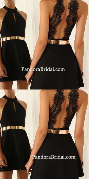 Popular black halter simple sexy unique style casual cocktail homecoming prom gown dress, PD0035