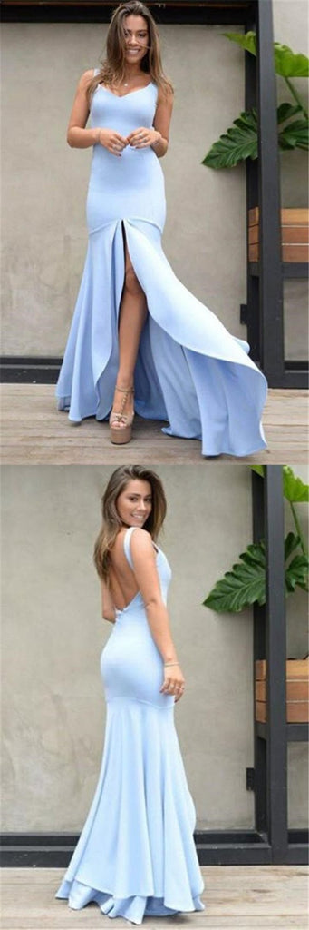 Sexy Blue Straps Open Back Long Mermaid Prom Dresses With Side Slit, Prom Dresses, VB01288