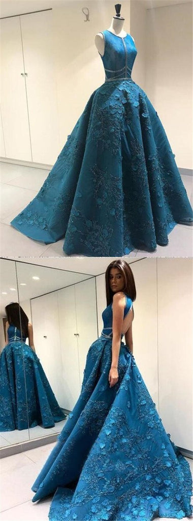 Unique Blue Scoop Neckline Open Back Sleeveless Long A-Line Prom Dresses, Ball Gown, Party Dresses, VB01279