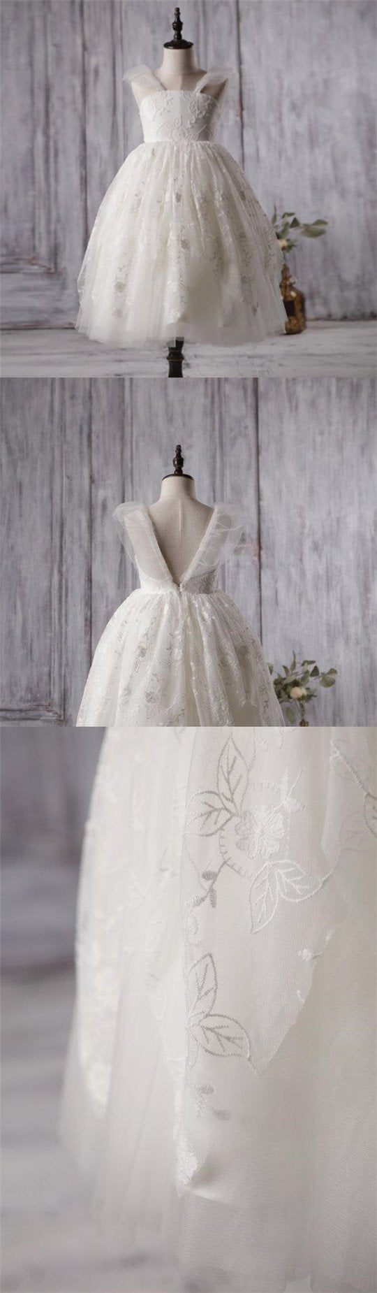 bc5fbe9f27c Ivory Cute Lace Tulle Flower Girl Dresses