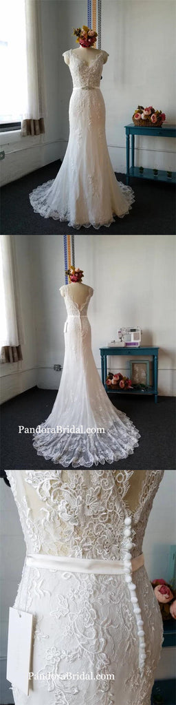 Gorgeous V-Neck Cap Sleeves V-Back Mermaid Wedding Dresses With Trailing, Charming Lace Wedding Dresses With Embellished Sash, PD0282