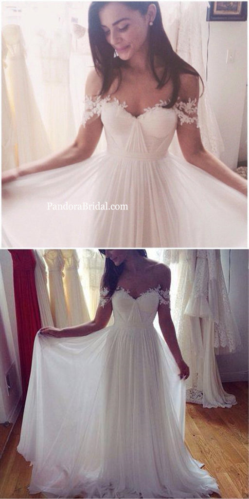 Simple Off Shoulder Open Back A-Line Chiffon Wedding Dresses With Lace Appliques, Cheap Pleating Bridal Gown, PD0281